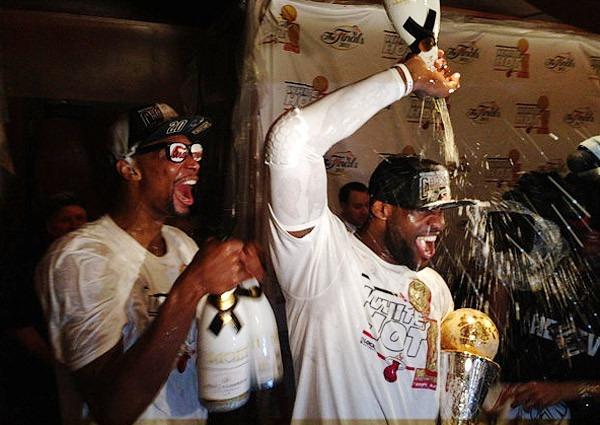 Amongst Champagne Showers In The Locker Room Lebron Tells