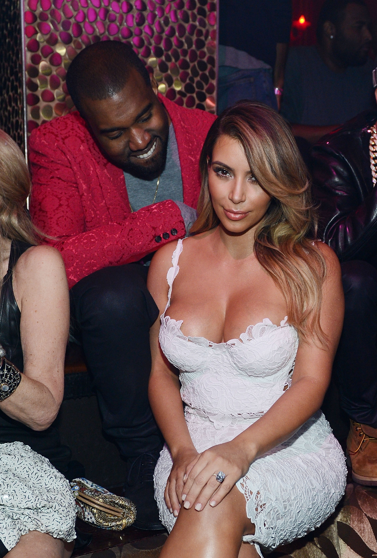 Kanye West and Kim Kardashian at TAO