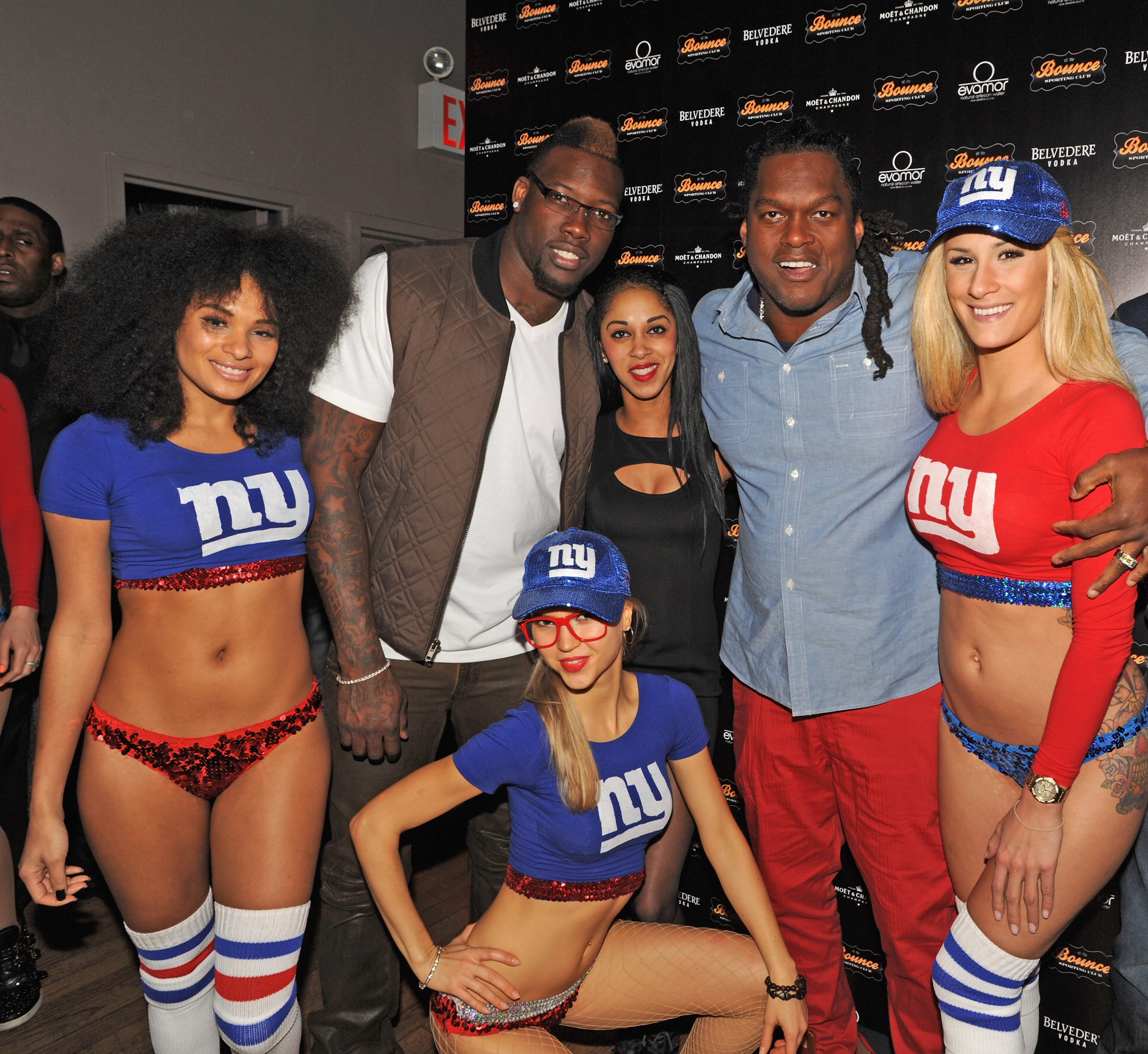 Busta Rhymes Poses With Jason Pierre Paul And Stevie Brown