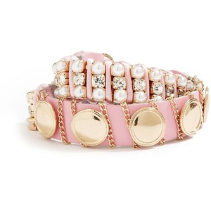 PINK AND GOLD-TONE STUDDED WRAP BRACELET: $35.00