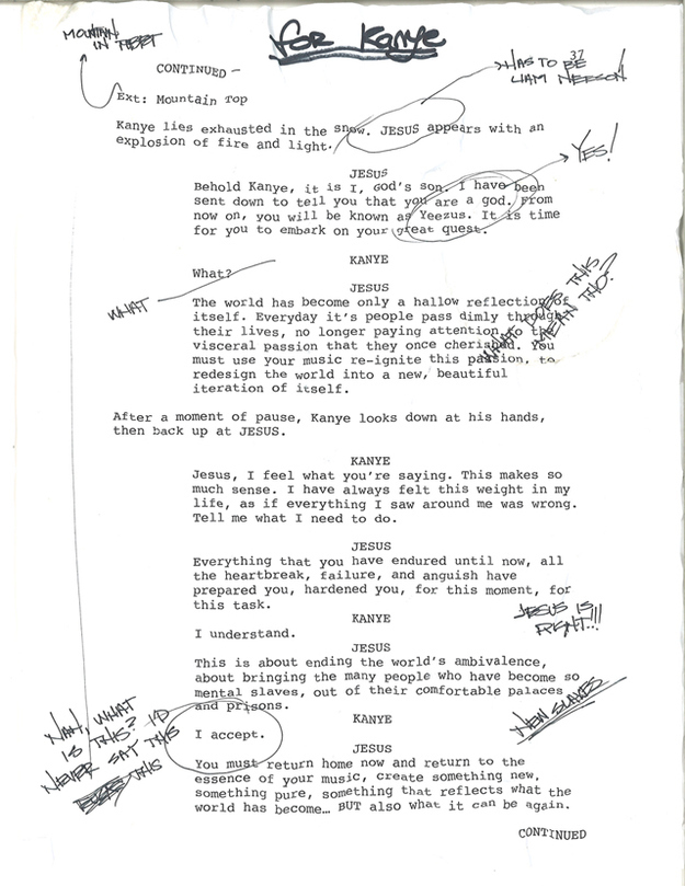 is this a page from the yeezus movie script the source