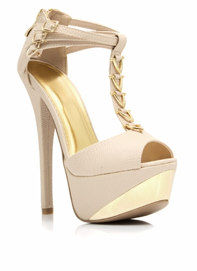 V-Down Metallic Accent Heels
