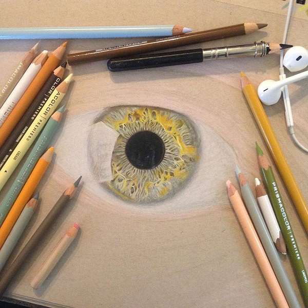 Realistic Eye Drawing In Color