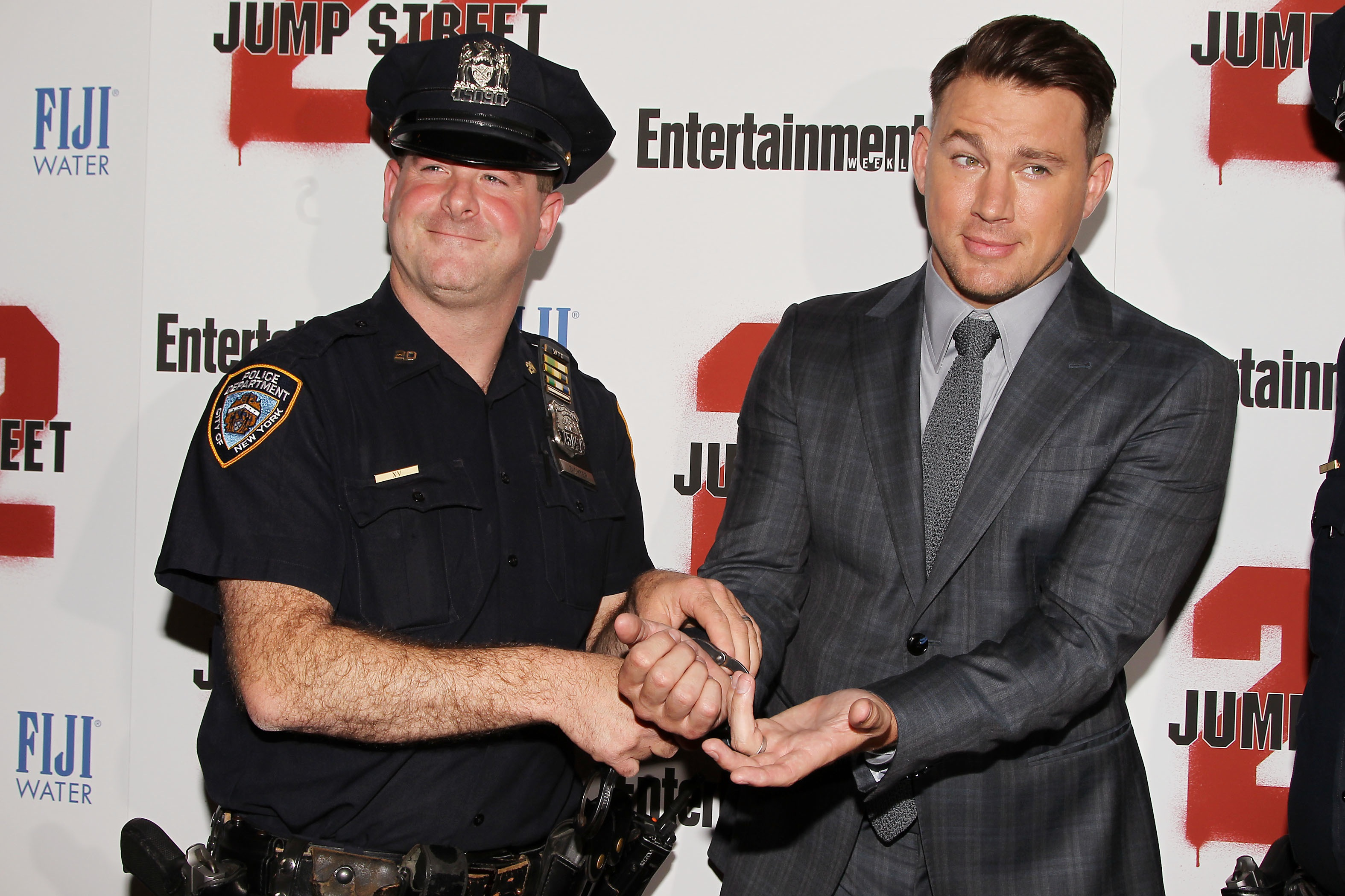 Channing Tatum getting  arrested  at the  Jump Street Movie Premiere