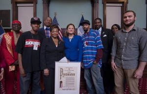 Charles and Randy Fisher receive a Proclamation from NYC Council. L to r: Councilwoman Barron,  Charles Fisher, Councilman King, Councilwoman Dickens, Speaker Mark-Viverito, Randy Fisher, Councilman Williams, Councilwoman Rose, Joe De Angelis, Power 105.1.