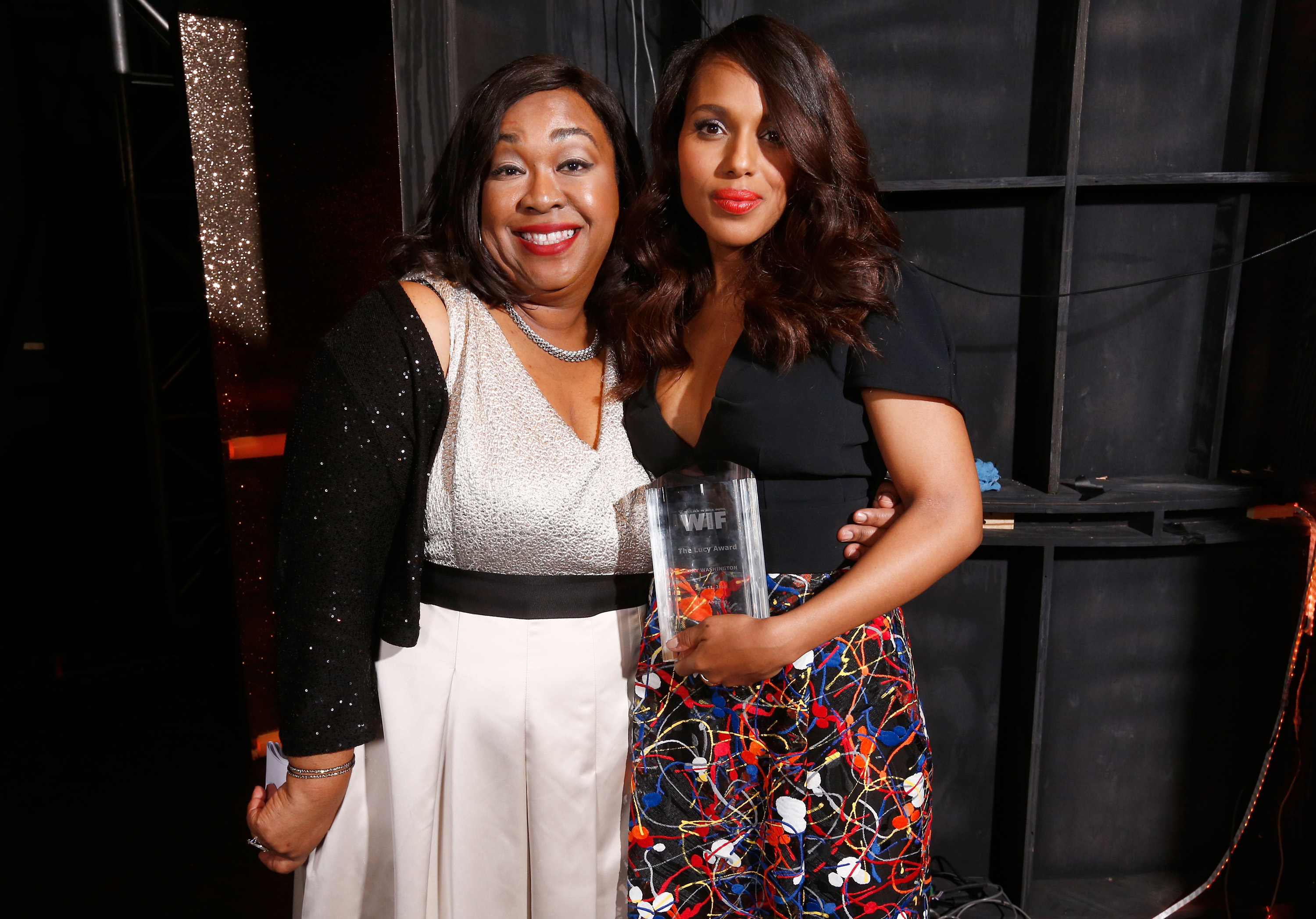 Kerry Washington and Shonda Rhimes at WIF  Crystal + Lucy Awards presented by MaxMara BMW Perrier Jouet South Coast Plaza Getty Images