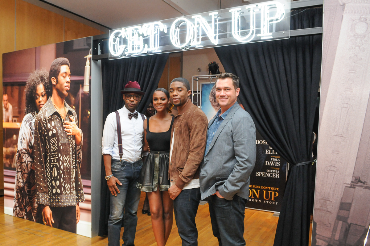 Nelsan Ellis Tika Sumpter Chadwick Boseman and Tate Taylor at GET ON UP Exhibit