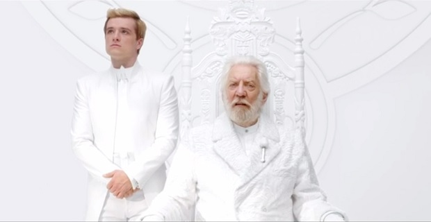 Peeta and President Snow in The Hunger Games