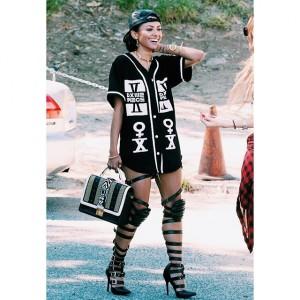 kat graham, dimepiece la, dimepiece baseball button up, fashion, her source vices, ootd,