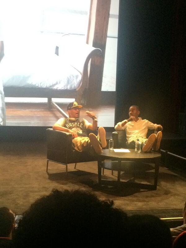 T.I. & Lil' Duval at The School of Visual Arts in NYC earlier this evening.