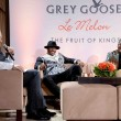 Max Chow professional basketball player Carmelo Anthony and artist Kehinde Wiley at Carmelo Anthony Kehinde Wiley Dinner Hosted by GREY GOOSE