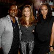 Randy Jackson Tina Knowles and Kelly Rowland at Carmelo Anthony Kehinde Wiley Dinner Hosted by GREY GOOSE