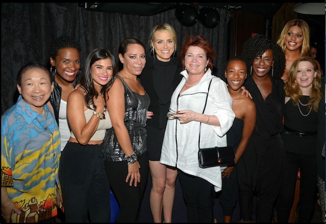 Taylor Schilling with OITNB cast at 30th Birthday at CATCH Roof NYC
