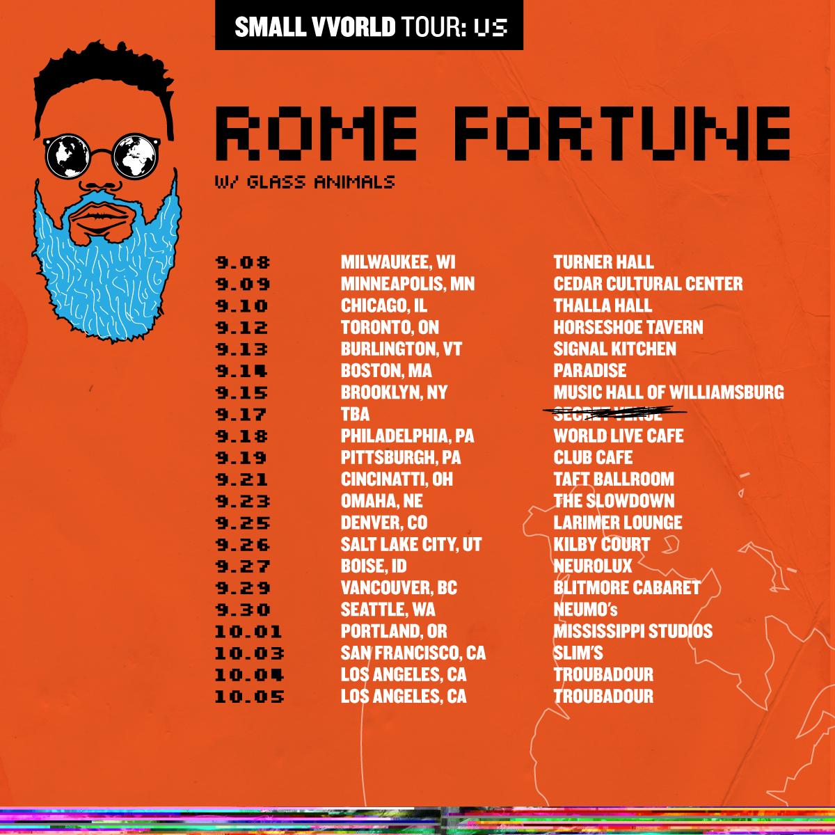 small vvorld us tour rome fortune glass animals