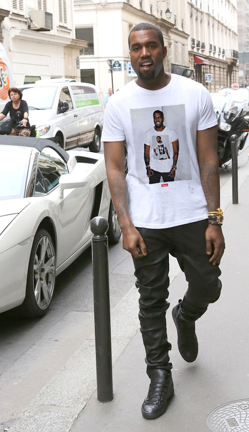 kanye west with a kanye west shirt on, the source, kanye west style, nyfw, urban fashion evolution, rapper graphic tshirts,