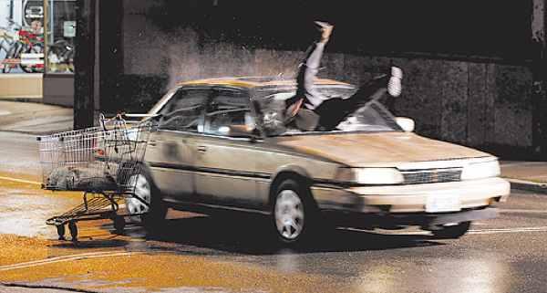 man in windshield