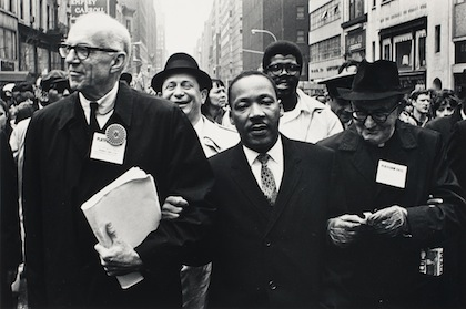 Dr. Benjamin Spock, Dr. King, and Monsignor Rice of Pittsburgh march in the Solidarity Day Parade at the United Nations Building., April 15, 1967