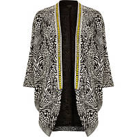 BLACK ANIMAL PRINT EMBELLISHED NECK KIMONO, river island, her source, her source vices, fashion, the source magazine, eyepissglitter