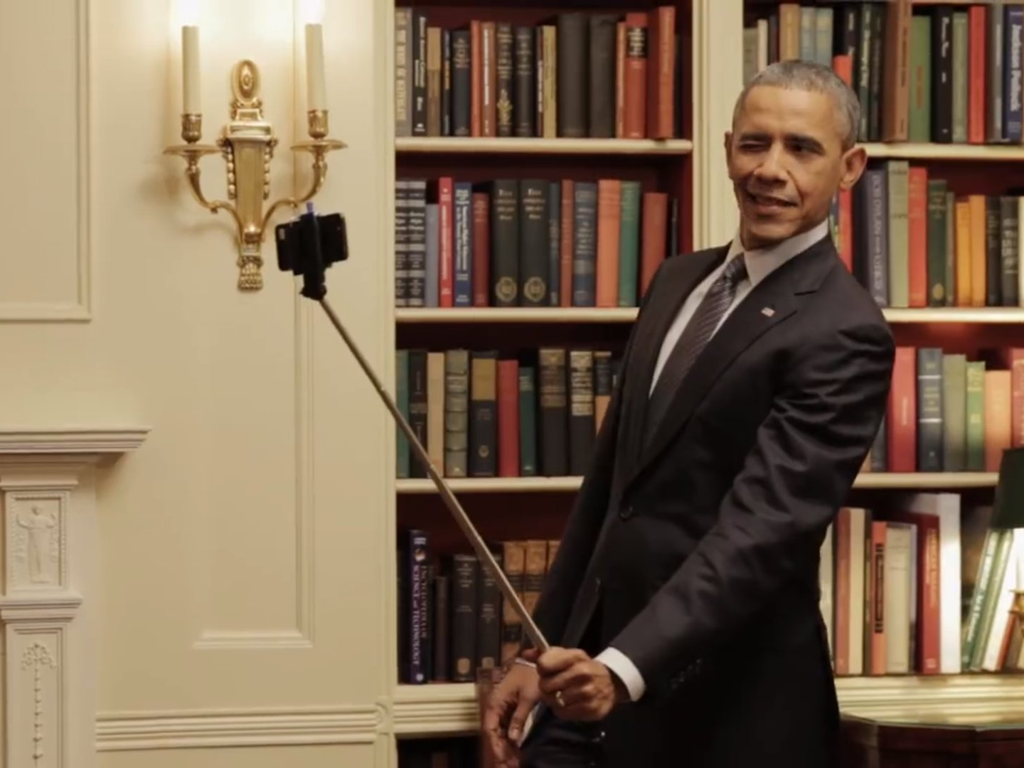heres president obama playing with a selfie stick