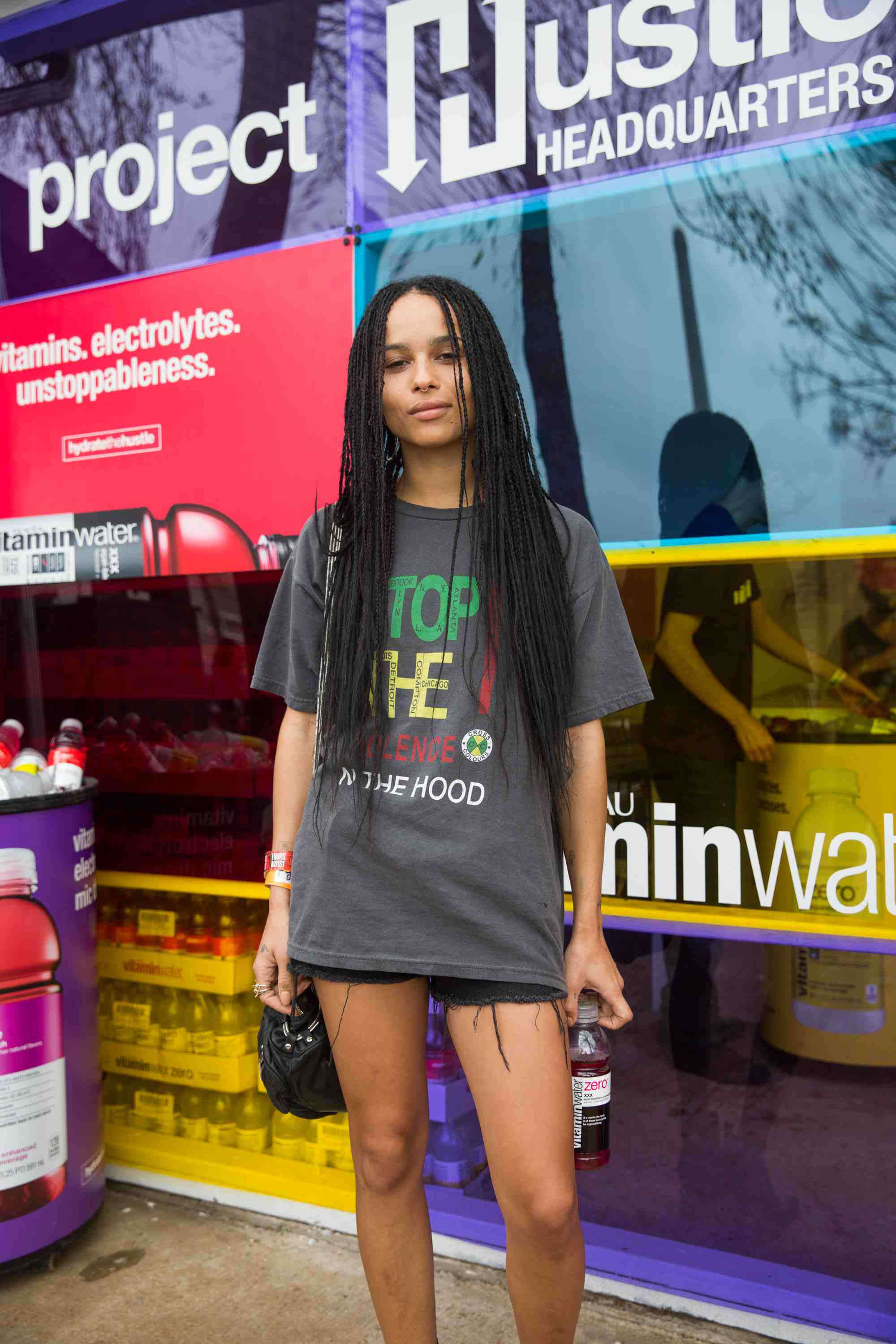 Zoe Kravitz Stops by vitaminwater Project Hustle headquarters at The FADER Fort by Roger Kisby