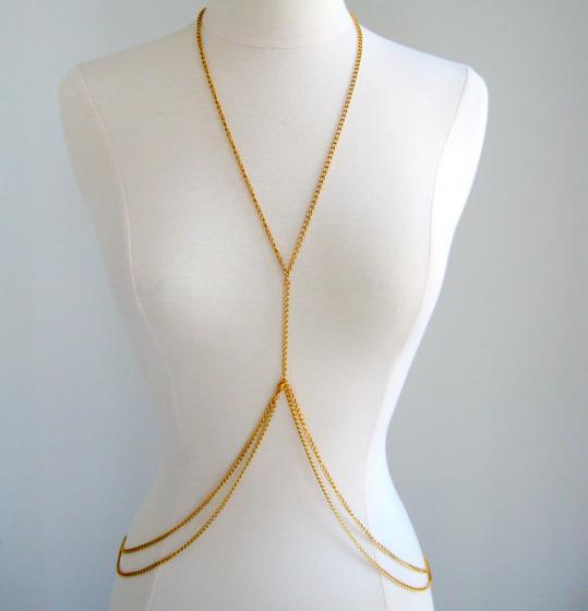 Double Loop Gold Body Chain Body Jewellery Women by fairedelamode