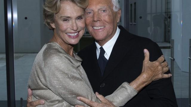 Lauren Hutton and Giorgio Armani