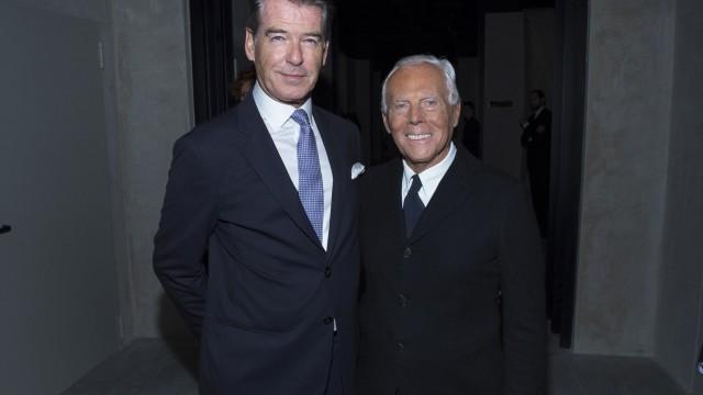 Pierce Brosnan and Giorgio Armani
