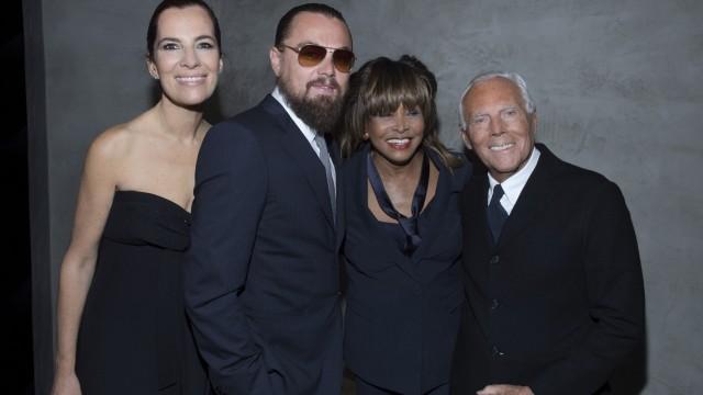 Roberta Armani, Leonardo DiCaprio, Tina Turner and Giorgio Armani