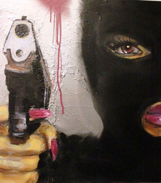 "Gun Woman from ""Dripped On Elizabeth Group Show 1"" Art Gallery 