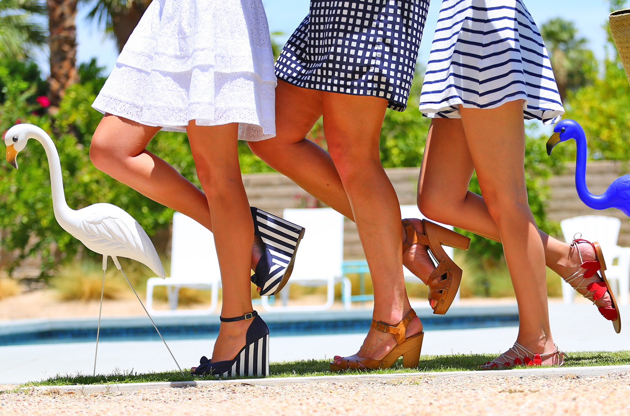 Sydne Style summer shoes sandals wedges striped red white blue lawn flamingos palm springs