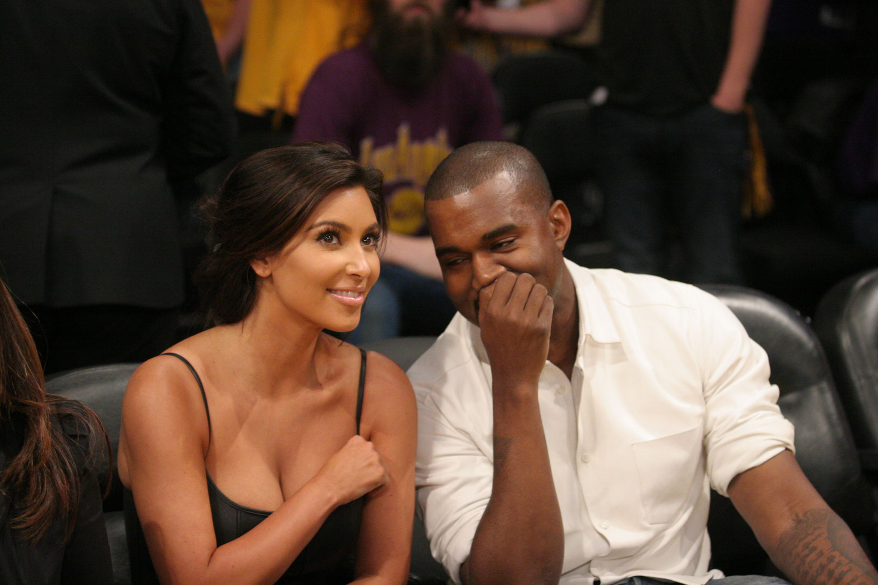 KIM KARDASHIAN and Kanye West at the Lakers Game