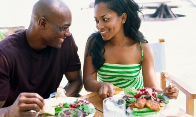 black couple eating salad