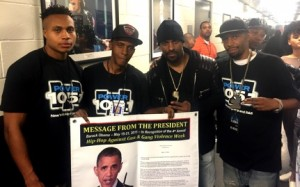"Sharieff ""The Fitness Sheriff,"" C. Fisher, DJ Clue? and R. Fisher holding Presidential Message from Obama.​"