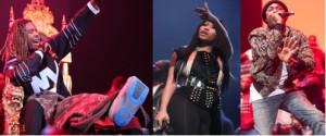 Fetty Wap, Nicki Minaj and Meek Mill on the Powerhouse stage.