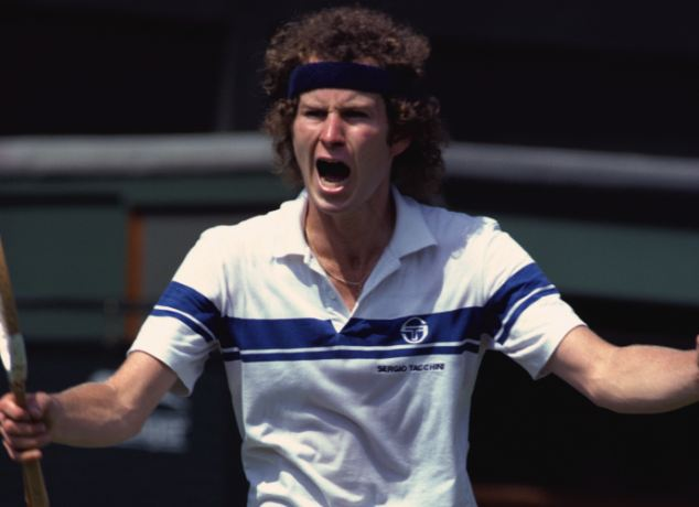ca. 1981, London, England, UK --- Tennis player John McEnroe yells at an umpire during a match at the 1981 Wimbledon Championship. --- Image by © Michael Cole/CORBIS