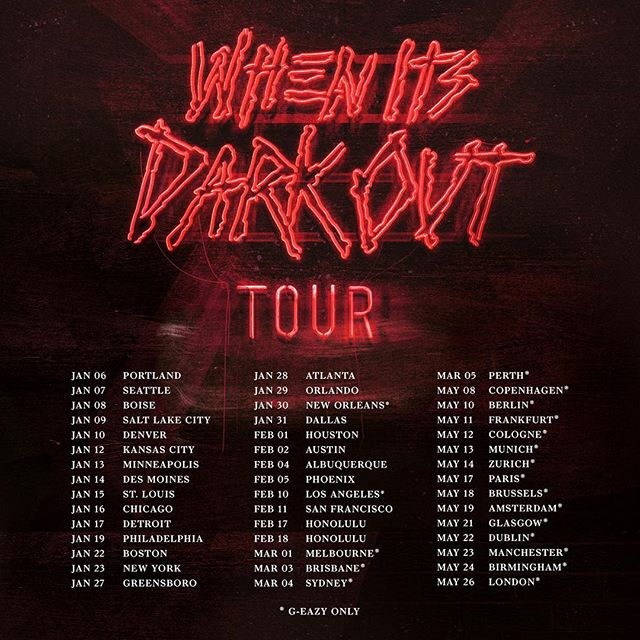 G eazy tour dates in Brisbane