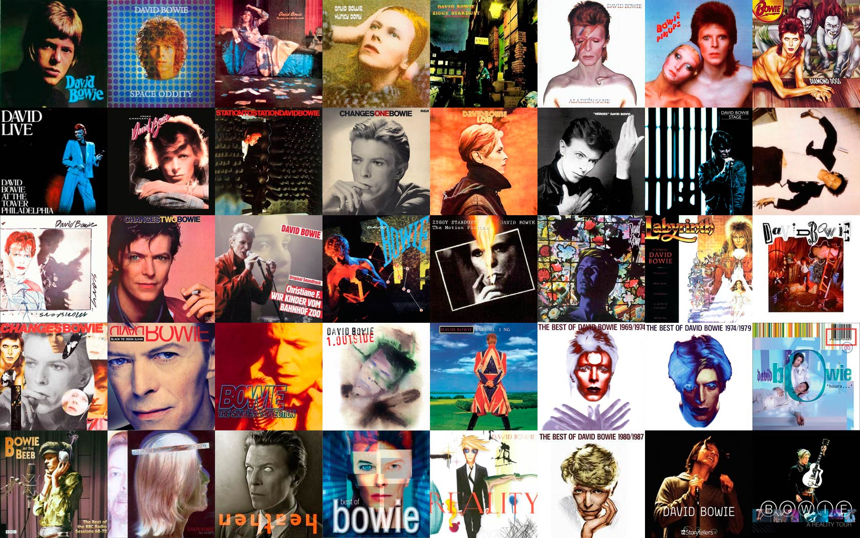 bowie album collage