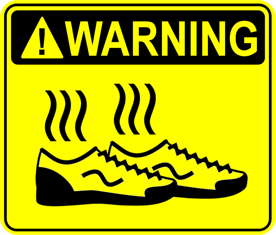 warning smelly shoes