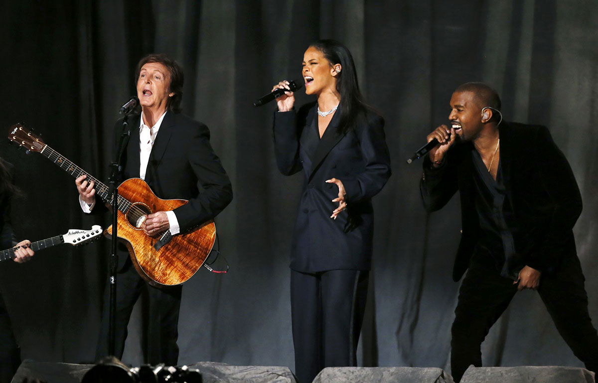 RIHANNA, Kanye West and Paul McCartney Performs at 2015 Grammy