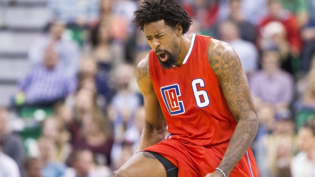 Dec 26, 2015; Salt Lake City, UT, USA; Los Angeles Clippers center DeAndre Jordan (6) reacts after J.J. Reduce (not shown) scores three points during the second half against the Utah Jazz at Vivint Smart Home Arena. Mandatory Credit: Rob Gray-USA TODAY Sports