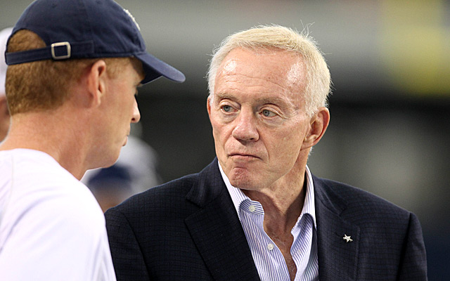 Aug 10, 2010; Arlington, TX, USA; Dallas Cowboys owner Jerry Jones (right) talks with assistant coach Jason Garrett during a practice held at Cowboys Stadium. Mandatory Credit: Matthew Emmons-USA TODAY Sports