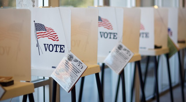 usa voting paper ballot booths