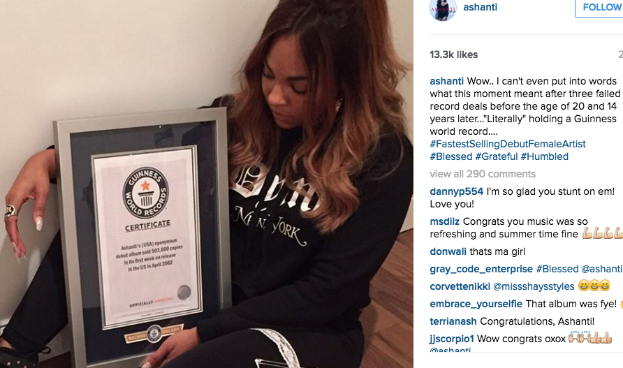 ashanti makes it in the guinness world record books the source