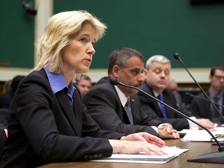FBI Executive Assistant Director for Science and Technology Amy Hess (from left) testifies on encryption Tuesday before a House panel, alongside the New York City Police Department's Thomas Galati and Indiana State Police Office Capt. Charles Cohen
