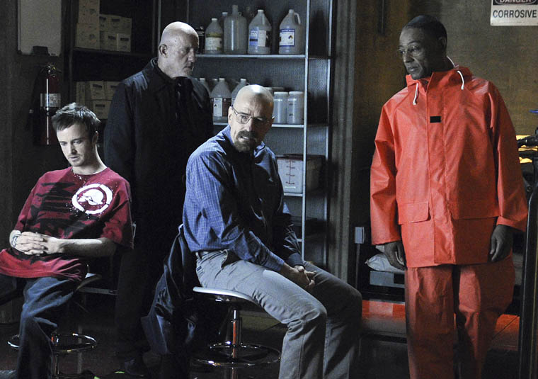 (L-R) Jesse Pinkman (Aaron Paul), Mike (Jonathan Banks), Walter White (Bryan Cranston) and Gustavo Fring (Giancarlo Esposito) - Breaking Bad - Season 4, Episode 1 - Photo credit Ursula Coyote/AMC - BBBEpisode401Day6(CamA1)-109.jpg