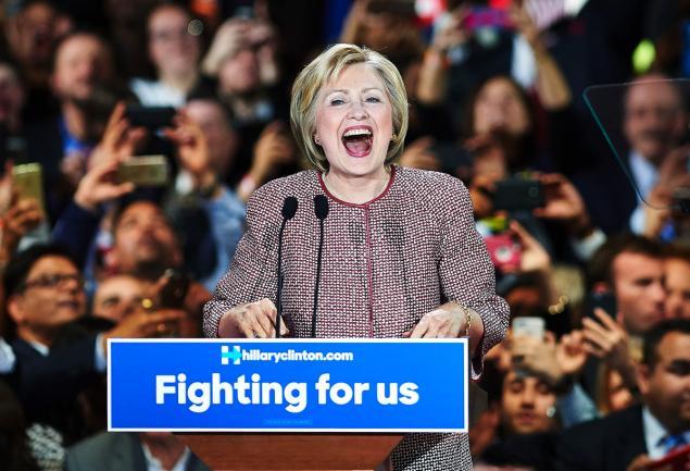 hillary clinton celebrates new york primary win
