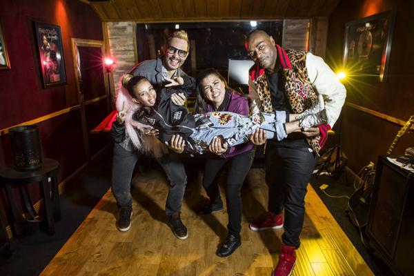 Alex Cantrell, DJ Carisma, Jerald Cavitt holding Hello Kylie. - Photo by Uriel Sanchez