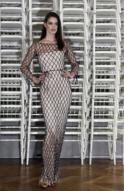 csmlf l dress mesh dress bodycon dress gown prom dress fashion week  runway model haute couture gorgeous