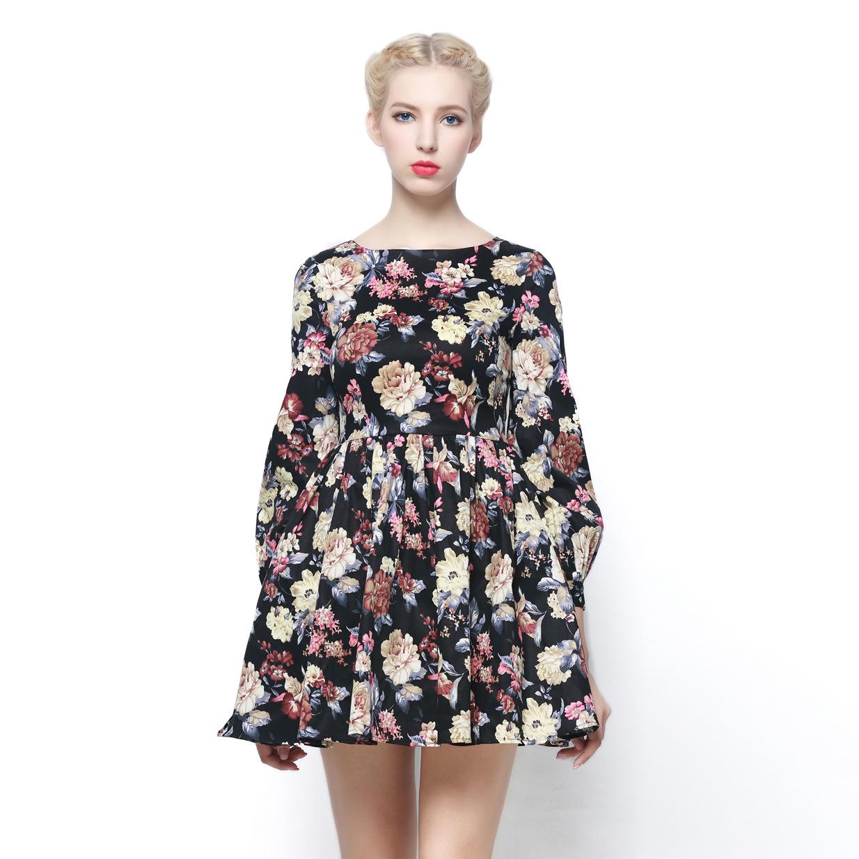 Floral dress new  spring runway brand vintage pleated women dress