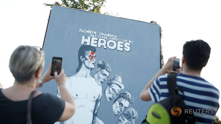 a david bowie mural is